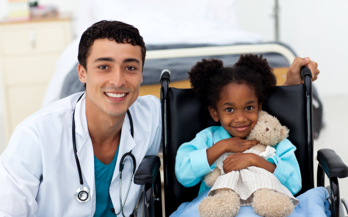 nursing assistant with a child