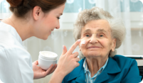 caregiver assisting elder