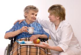 caregiver taking care of senior
